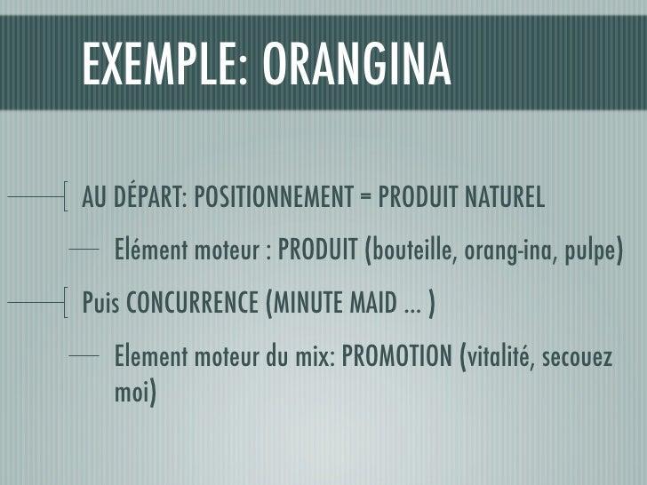 EXEMPLE: ORANGINA  AU DÉPART: POSITIONNEMENT = PRODUIT NATUREL    Elément moteur : PRODUIT (bouteille, orang-ina, pulpe) P...