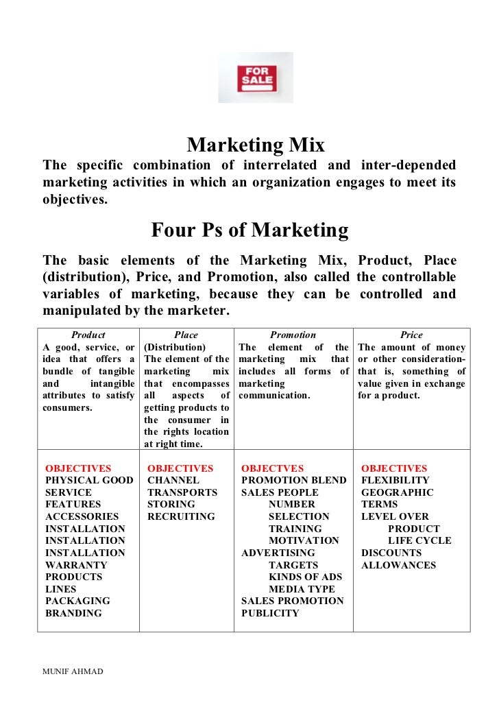 Marketing MixThe specific combination of interrelated and inter-dependedmarketing activities in which an organization enga...