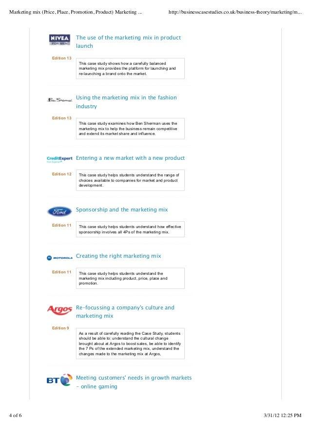 Marketing mix (price, place, promotion, product) marketing