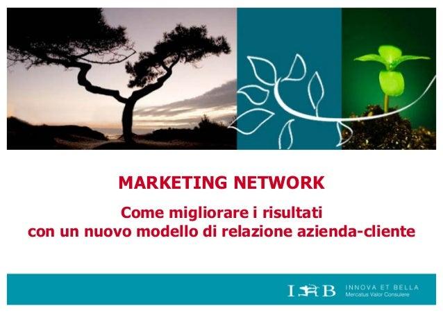 MARKETING NETWORK Come migliorare i risultati con un nuovo modello di relazione azienda-cliente