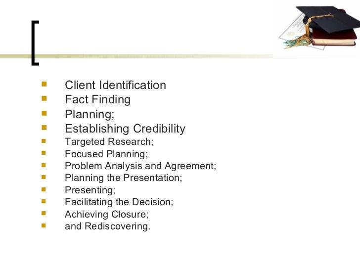 <ul><li>Client Identification </li></ul><ul><li>Fact Finding </li></ul><ul><li>Planning; </li></ul><ul><li>Establishing Cr...
