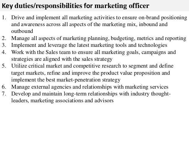 Chief Marketing Officer Job Description  Resume Template Sample