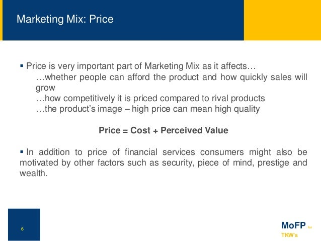 marketing mix for financial services