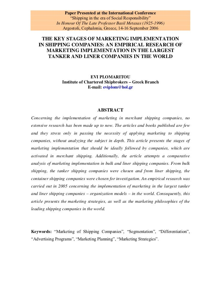 """Paper Presented at the International Conference                    """"Shipping in the era of Social Responsibility""""         ..."""