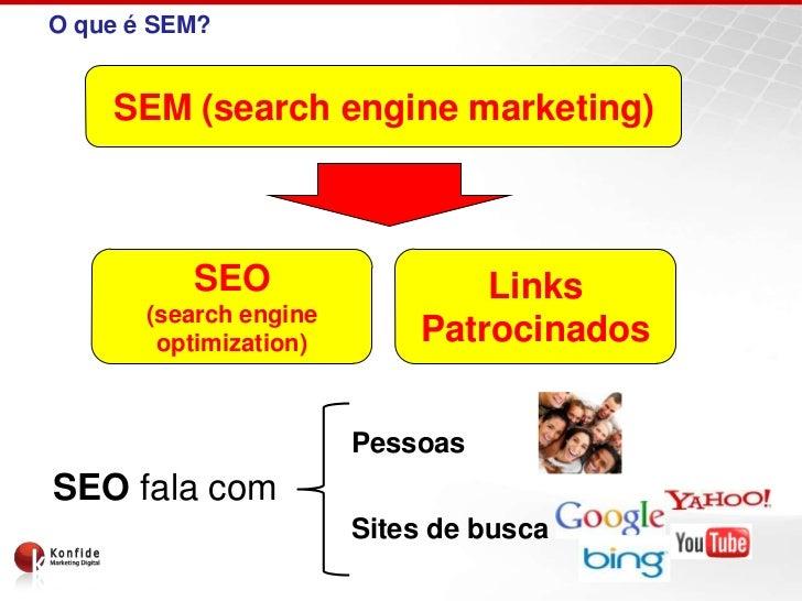 O que é SEM?    SEM (search engine marketing)          SEO                   Links       (search engine        optimizatio...
