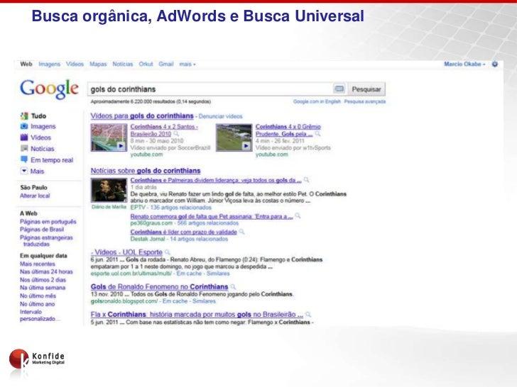 Busca orgânica, AdWords e Busca Universal
