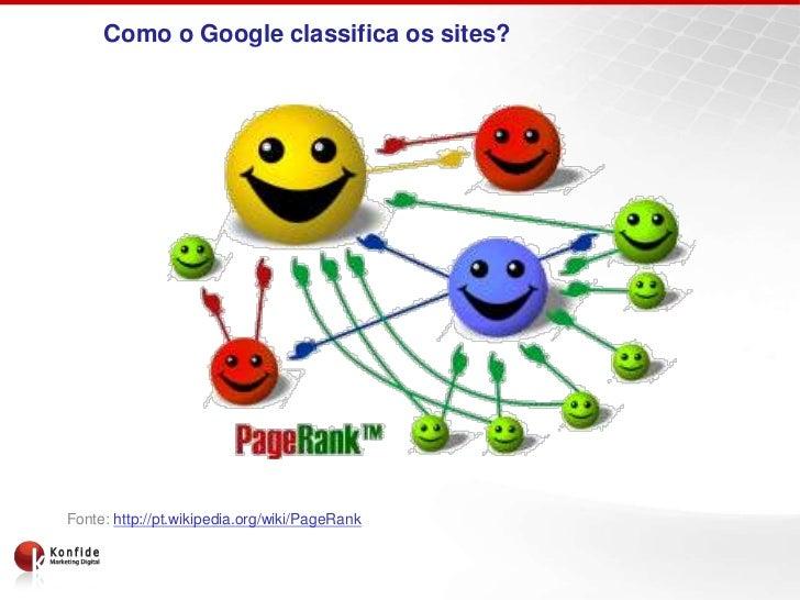Como o Google classifica os sites?Fonte: http://pt.wikipedia.org/wiki/PageRank