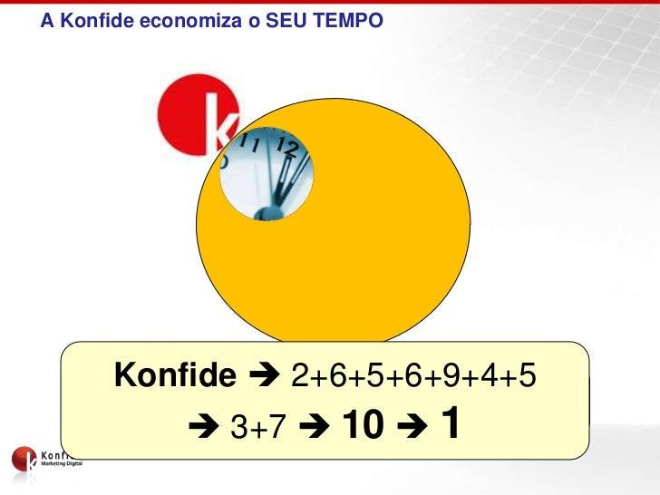 A Konfide economiza o SEU TEMPO     Konfide  2+6+5+6+9+4+5    Konfid = Confiar em esperanto          3+7  10  1