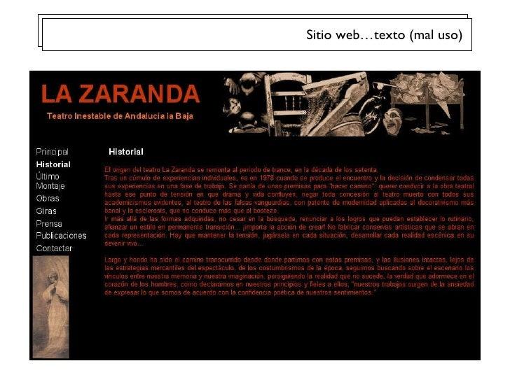 Sitio web…texto (mal uso)