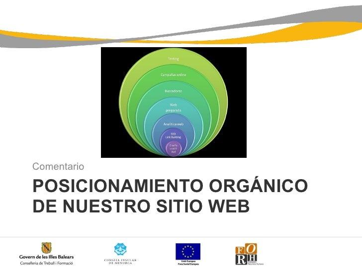 POSICIONAMIENTO ORGÁNICO DE NUESTRO SITIO WEB <ul><li>Comentario </li></ul>