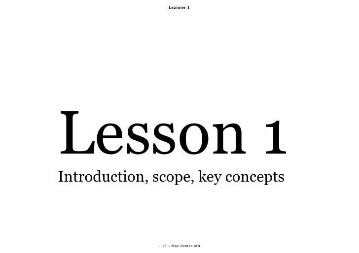Lezione 1     Lesson 1 Introduction, scope, key concepts                                       Timing Excel               ...