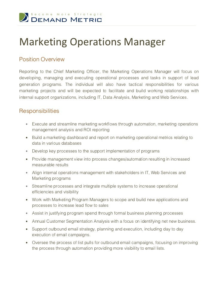 Marketing Operations ManagerPosition OverviewReporting To The Chief  Marketing Officer, The Marketing Operations Manager Wi.