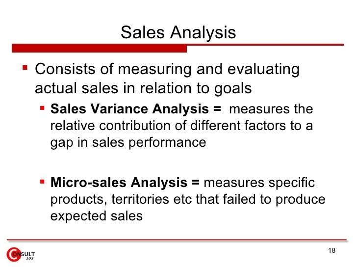 Sales Analysis <ul><li>Consists of measuring and evaluating actual sales in relation to goals </li></ul><ul><ul><li>Sales ...