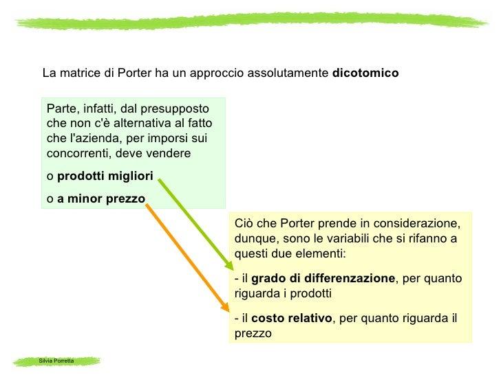 La matrice di Porter ha un approccio assolutamente dicotomico   Parte, infatti, dal presupposto   che non cè alternativa a...