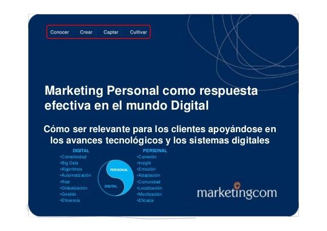 Marketing Personal como respuesta efectiva en el mundo Digital Cómo ser relevante para los clientes apoyándose en los avan...