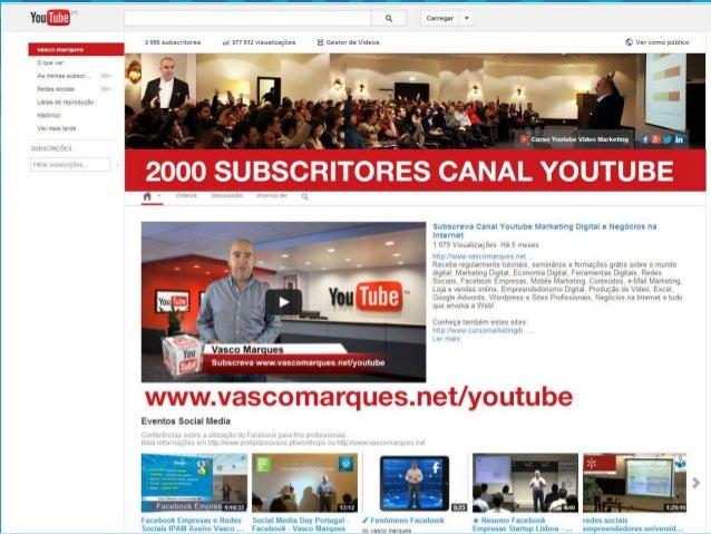 Youtube Vídeo Marketing  Vasco Marques | www.vascomarques.com | Marketing Pessoal e Networking