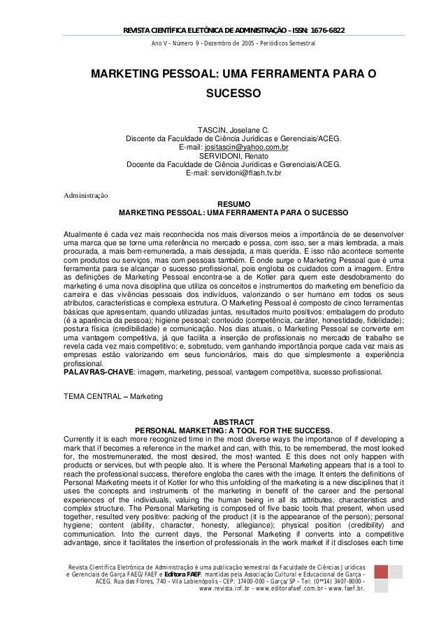 REVISTA CIENTÍFICA ELETÔNICA DE ADMINISTRAÇÃO – ISSN: 1676-6822                               Ano V – Número 9 – Dezembro ...