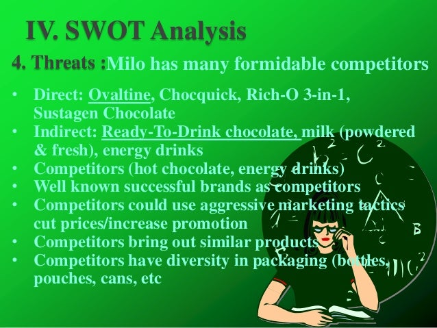 swot analysis for milo Milo swot analysis profile additional information what is a swot analysis it  is a way of evaluating the strengths, weaknesses, opportunities, and threats that.