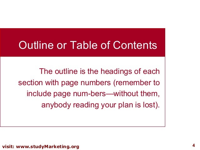 headings contained in a business plan