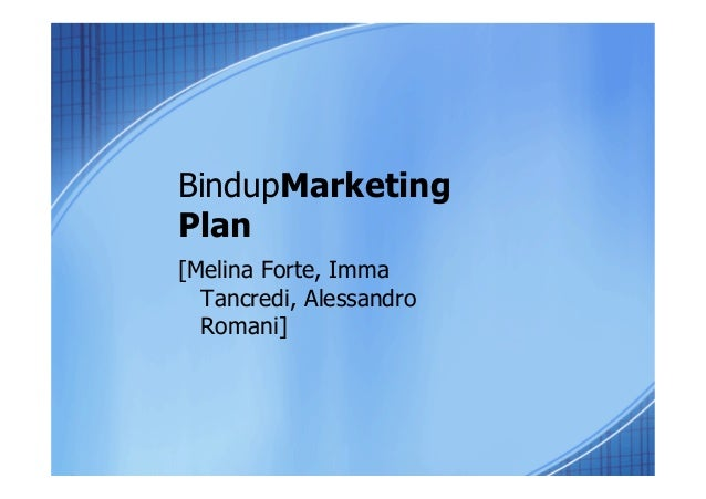 BindupMarketing Plan [Melina Forte, Imma Tancredi, Alessandro Romani]