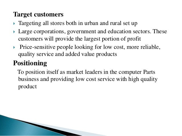 Marketing plan for Amonika Computer Parts