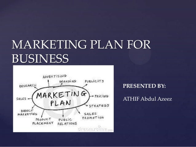MARKETING PLAN FOR BUSINESS PRESENTED BY: ATHIF Abdul Azeez