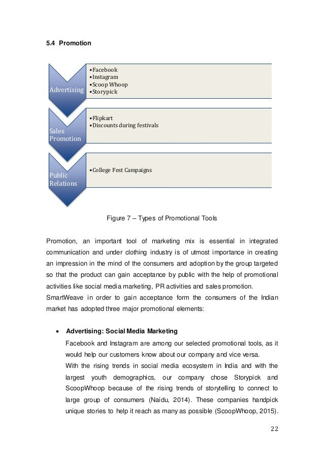 22 5.4 Promotion Figure 7 – Types of Promotional Tools Promotion, an important tool of marketing mix is essential in integ...