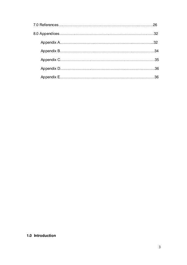 3 7.0 References…………………………………………………………………26 8.0 Appendices…………………………………………………………………32 Appendix A……………………………………………………………….....