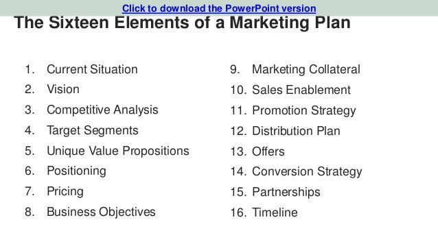 Marketing plan template for tech startups 5 the sixteen elements of a marketing plan wajeb Gallery