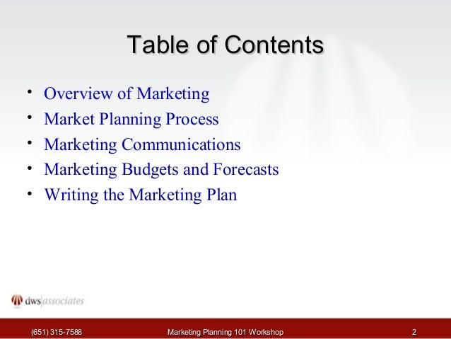 Marketing Planning Tutorial Slide 2