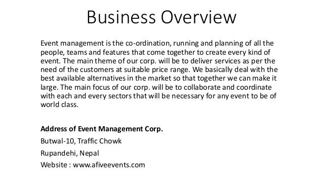 events planning business plan