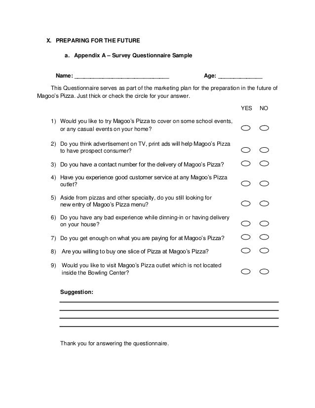 Marketing plan outline sample for tour 9 for Catering questionnaire template