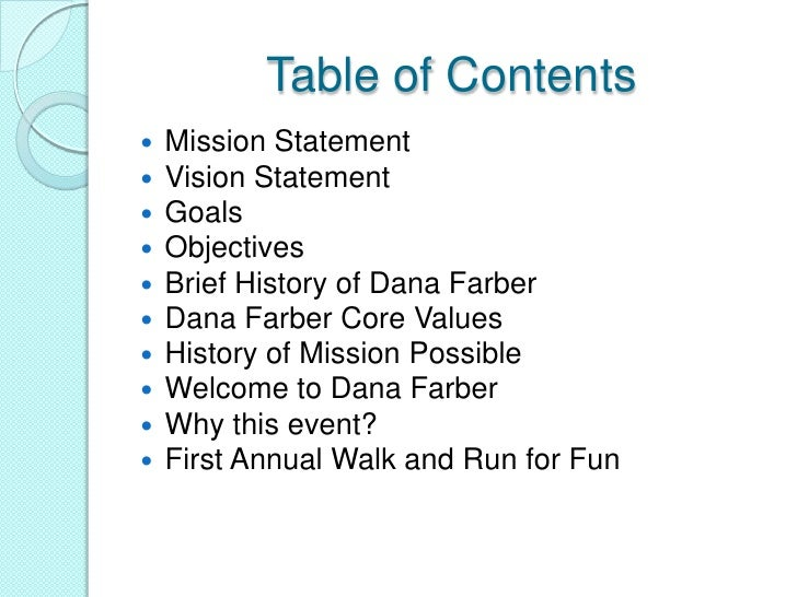 Marketing plan power point - Marketing plan table of contents ...