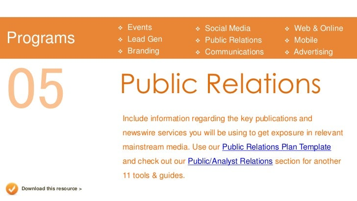 Marketing plan presentation template for Public relations plan template free