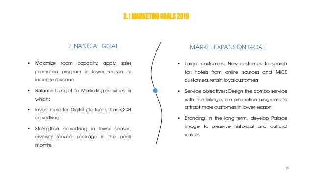 FINANCIAL GOAL MARKET EXPANSION GOAL  Maximize room capacity, apply sales promotion program in lower season to increase r...