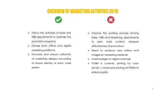 OVERVIEWOFMARKETINGACTIVITIES2018  Follow the activities of sales and F&B departments to optimize the promotion programs ...