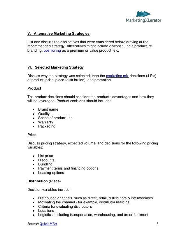 Basic marketing plan template by quickmba 3 v alternative marketing maxwellsz