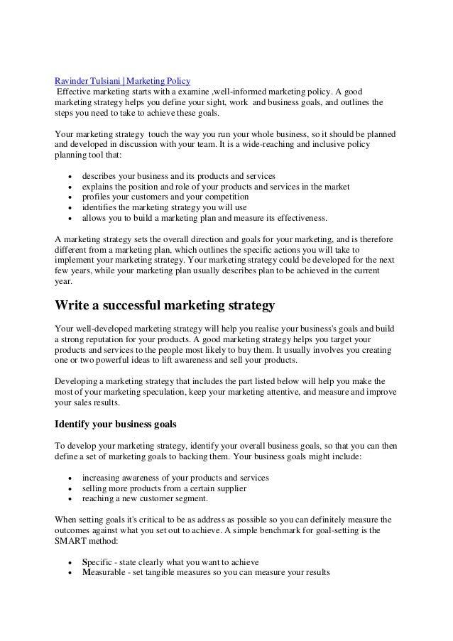 Marketing Policies & Strategies Project - academia.edu