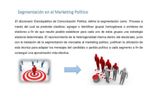 Así bien la segmentación en el ámbito del marketing político tiene ha sido identificado con los siguientes nombres como se...