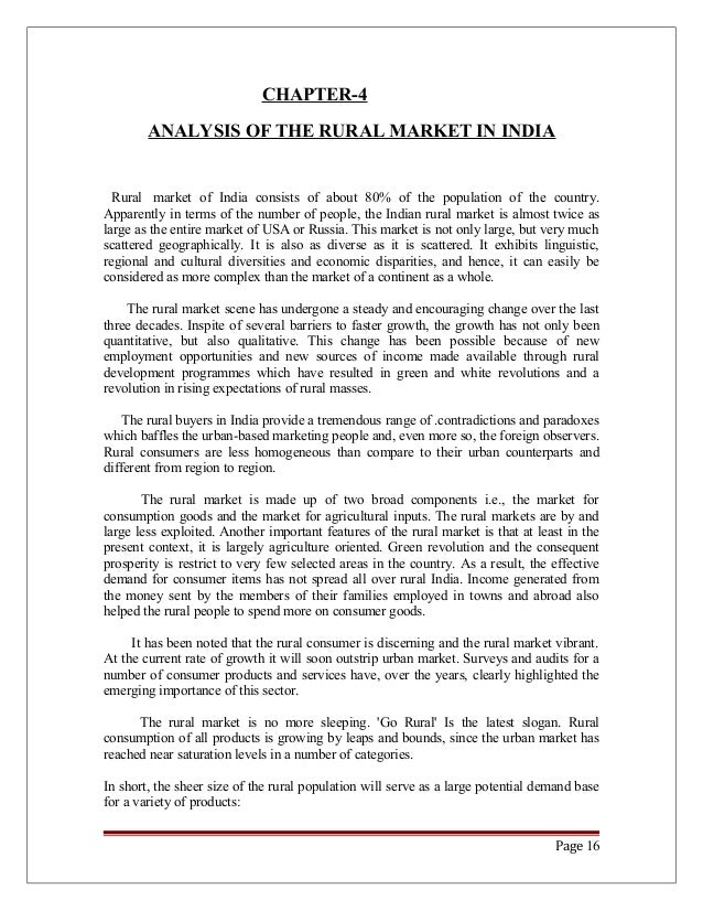 rural marketing essay Rural marketing referred to marketing of rural products in rural and urban areas and agricultural inputs in rural markets it was considered synonymous with 'agricultural marketing' agricultural produces like food grains and industrial inputs like cotton, sugarcane etc were the primary products marketed during this period.
