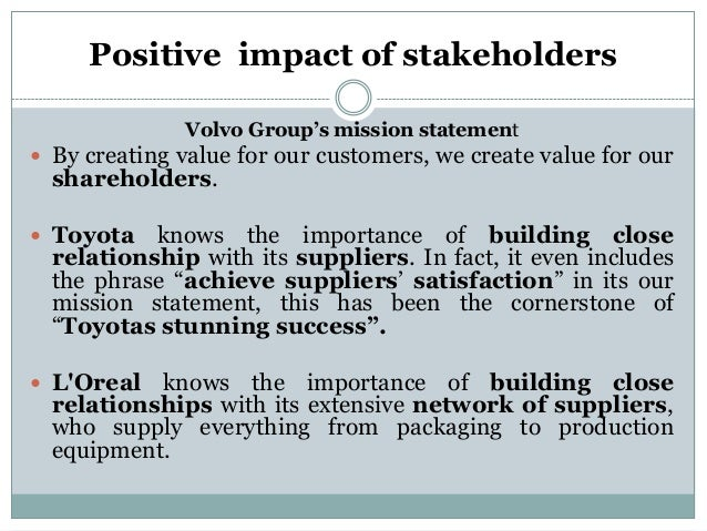 influence of stakeholders in toyota Our answers to stakeholders' questions on our 2013 sustainability report on 27 september 2013, belgian csr network kauri (now the shift) organised a stakeholder dialogue for toyota material handling europe (tmhe) with the help of mvo positively influence the external stakeholders.