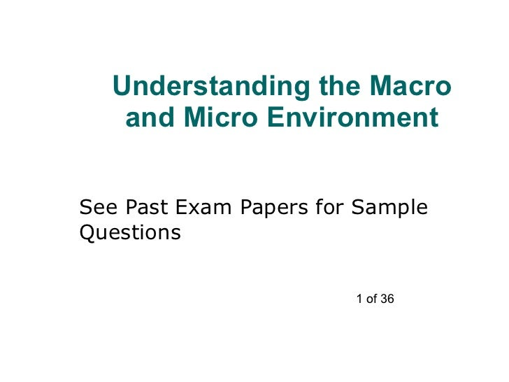 Understanding the Macro and Micro Environment See Past Exam Papers for Sample Questions 1 of 36