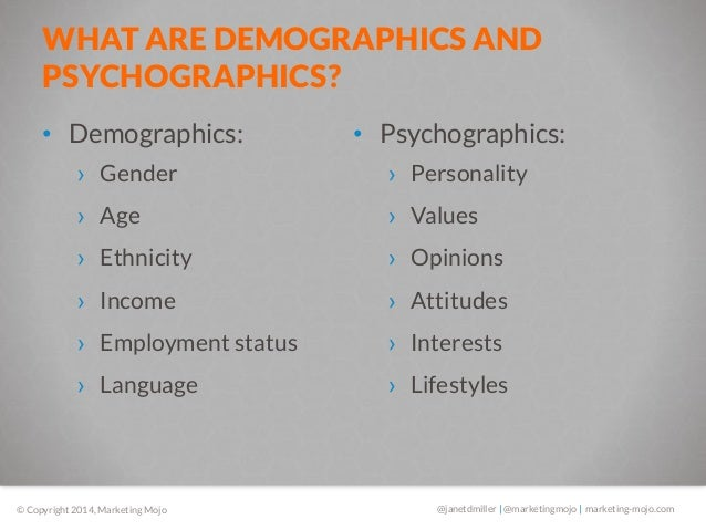 Demographics psychographics and personality