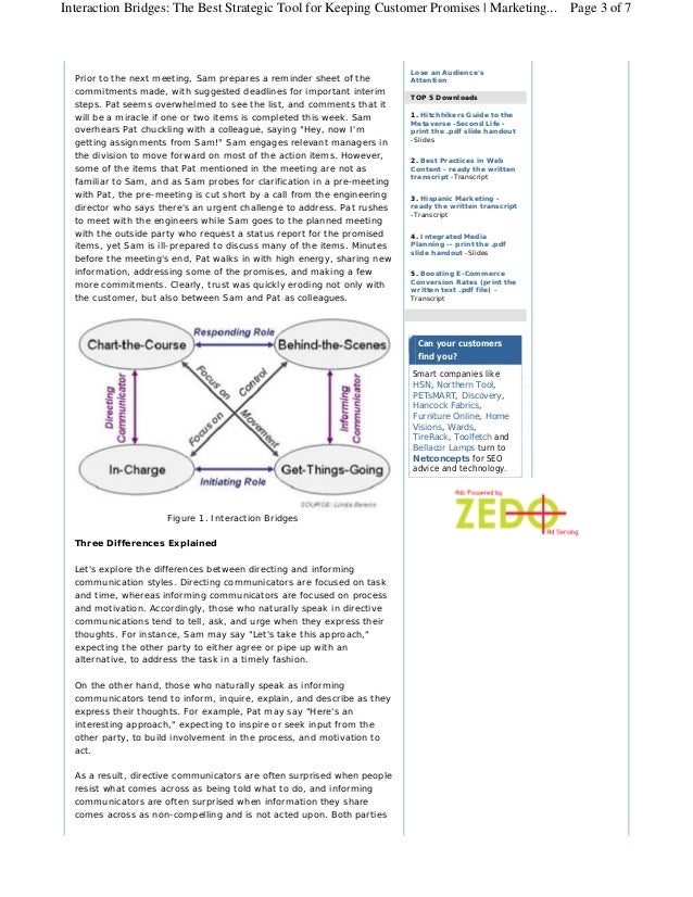Interaction Bridges: The Best Strategic Tool for Keeping Customer Promises | Marketing... Page 3 of 7                     ...