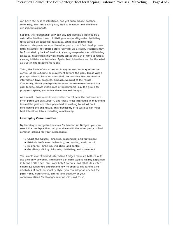Interaction Bridges: The Best Strategic Tool for Keeping Customer Promises | Marketing... Page 4 of 7  can have the best o...