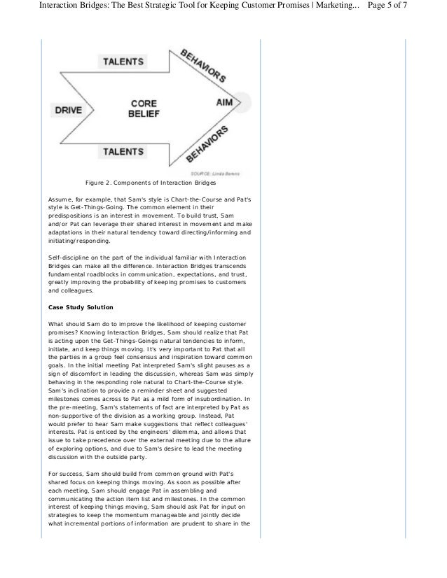 Interaction Bridges: The Best Strategic Tool for Keeping Customer Promises | Marketing... Page 5 of 7               Figure...