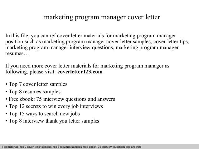 Marketing Program Manager Cover Letter In This File You Can Ref Materials For