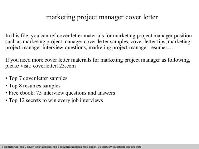 Marketing Project Manager Cover Letter In This File, You Can Ref Cover  Letter Materials For ...