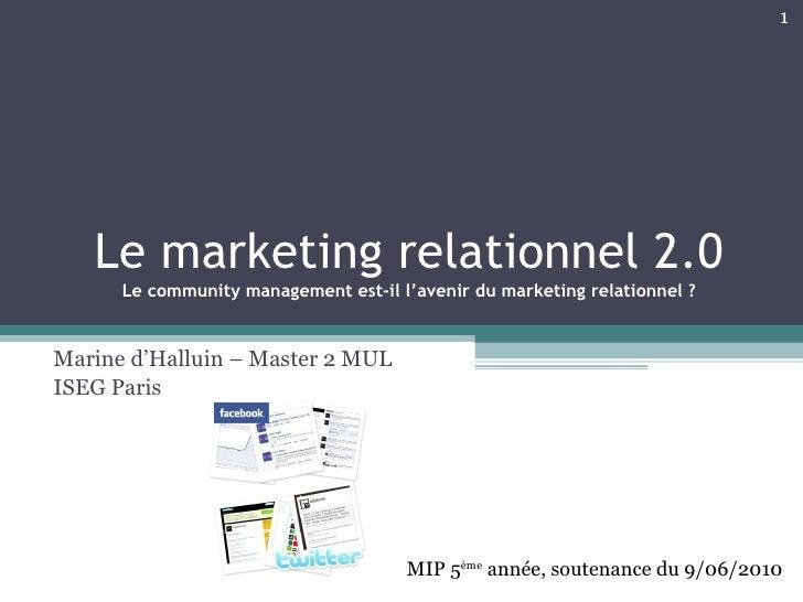 Le marketing relationnel 2.0 Le community management est-il l'avenir du marketing relationnel ? Marine d'Halluin – Master ...