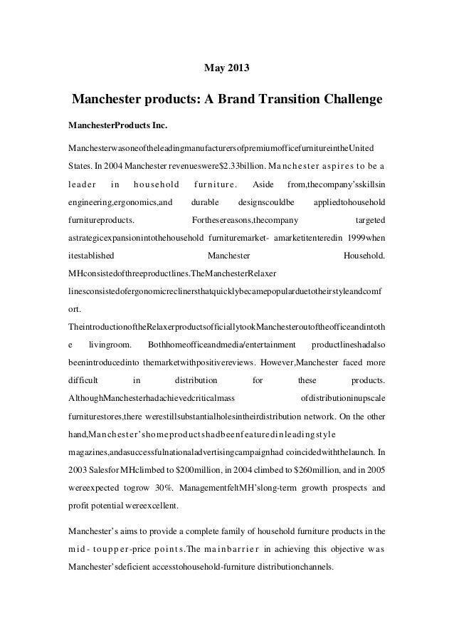 manchester products a brand transition challenge solution Apigee: people management practices and the challenge of growth case solution, case analysis,  manchester products: a brand transition challenge case solution.